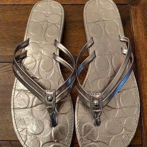 Coach Shoes - Coach Silver Flip Flop Sandals
